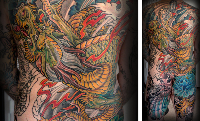 Terry ribera works on stunning dragon tattoo back piece for Best tattoo artist in tokyo