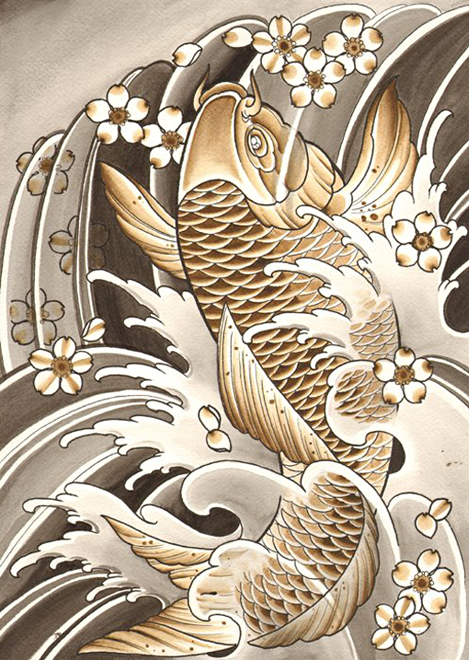 Traditional japanese koi fish paintings for Koi fish japanese art