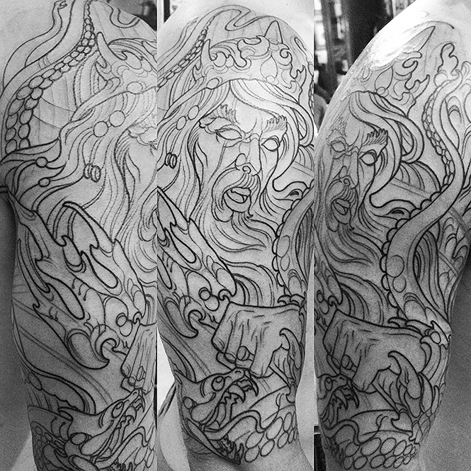 Outline first session of Poseidon tattoo
