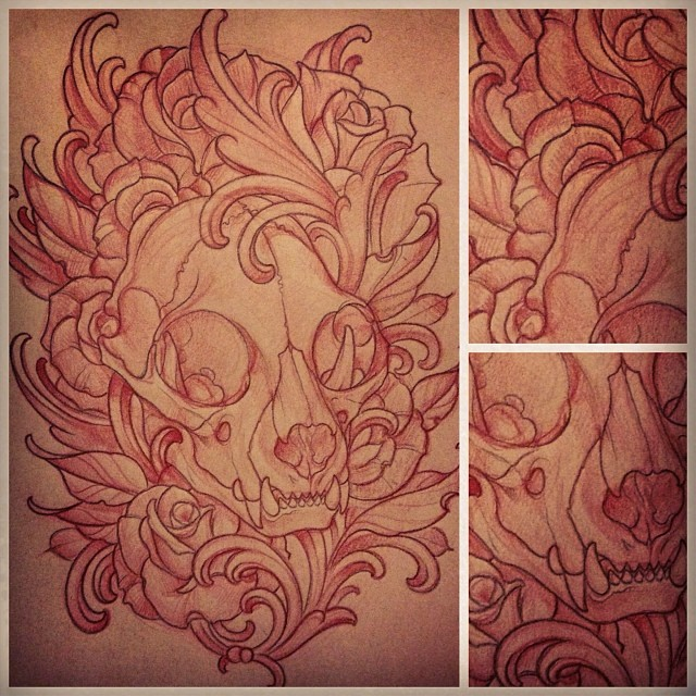 Skull Art Nouveau Custom Tattoo Sketch by Terry Ribera