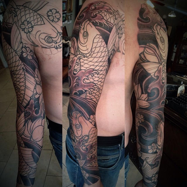 Black and White Koi Sleeve by Best Tattoo Artist Terry Ribera