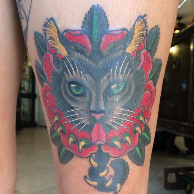 #cat tattoo @theblacktroll #sandiego #sandiegotattooshop #northpark #remingtontattoo #shannonnordin