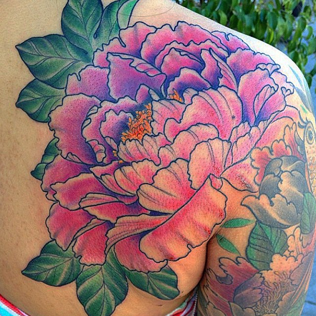 By Nathaniel Gann @nathanieltattoosd at Remington Tattoo #flower #flowertattoo #peonytattoo #peony
