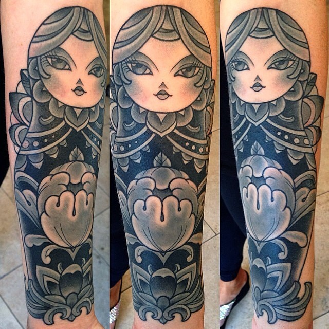 Terry Ribera is a master at cover-ups! Have a piece you need covered up? Contact Remington Tattoo #coverup #terryribera #nestingdoll #nestingdolltattoo #Matryoshkatattoo #Matryoshkadolltattoo #Matryoshka