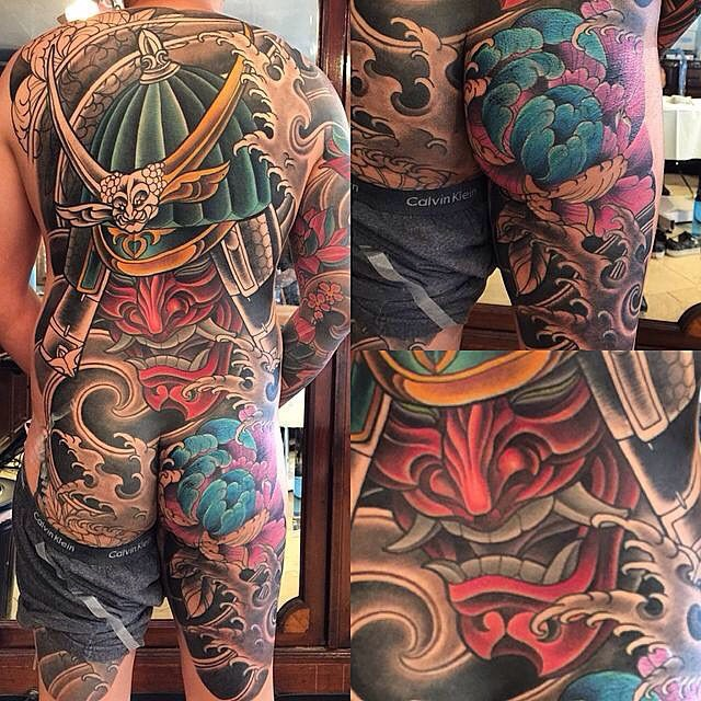 In progress by Terry Ribera @terryribera at Remington Tattoo @tattooistartmag #tattooistartmagazine #tattooistartmag #bodysuit #samurai #samuraitattoo #inked #peonytattoo #japanesetattoo
