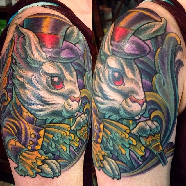 White rabbit tattoo by Terry Ribera @terryribera at Remington Tattoo #Remingtontattoo #rabbittattoo #magictattoo #aliceinwonderland #whiterabbit #ntgallery #aliceinwonderlandtattoo