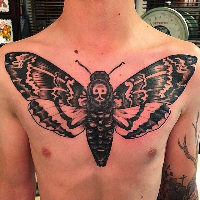 Death's Head Moth Tattoo By Nathaniel Gann @nathanieltattoosd at Remington Tattoo #chestpiece #chesttattoo #deathheadmoth #deathheadmothtattoo #deathsheadmothtattoo #mothtattoo #deathsheadmoth