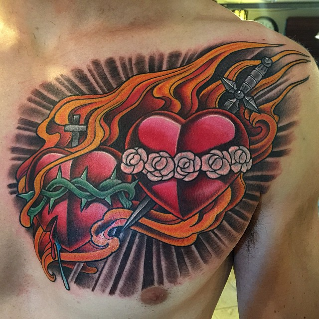 Sacred heart tattoo on a priest, by Terry Ribera @terryribera at Remington Tattoo #RemingtonTattoo #sacredhearttattoo #religioustattoo #sacredheart