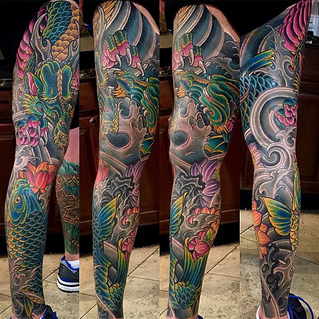 Finished this one up! By Terry Ribera @terryribera at #RemingtonTattoo @tattoo.workers #tattooworkers #legsleeve #koifishtattoo #japanesetattoo