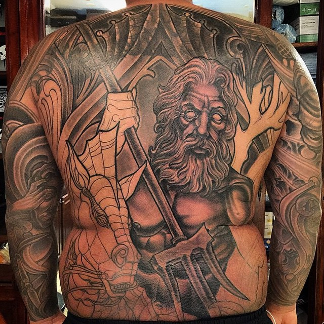 Back piece with cover-up in progress by Terry Ribera @terryribera at Remington Tattoo #remingtontattoo #Poseidon #poseidontattoo #backpiece #coverup #wip
