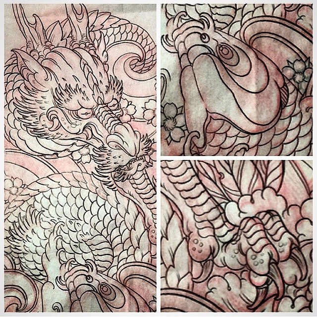 Drawing by Terry Ribera for upcoming piece #dragontattoo #koifishtattoo @terryribera #terryribera