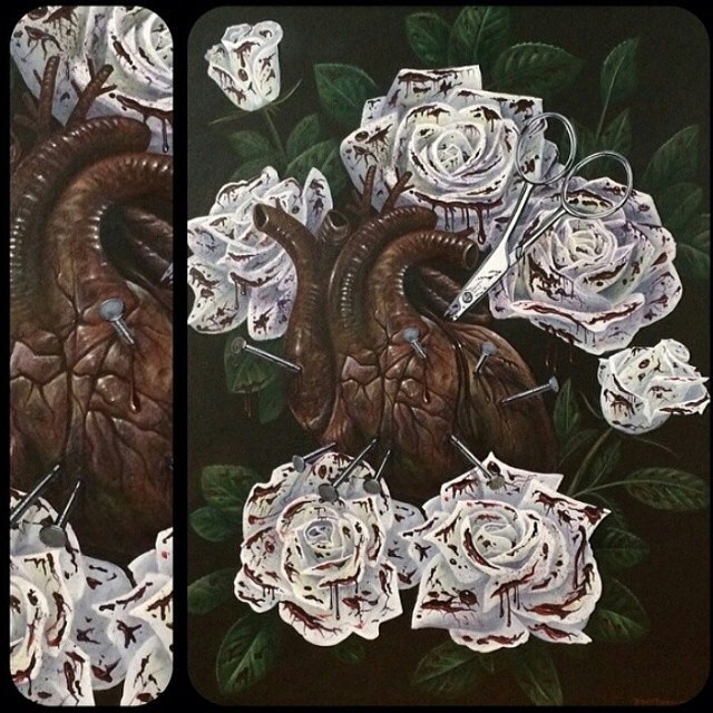 Flowers and Heart Painting by Brad Burkhart