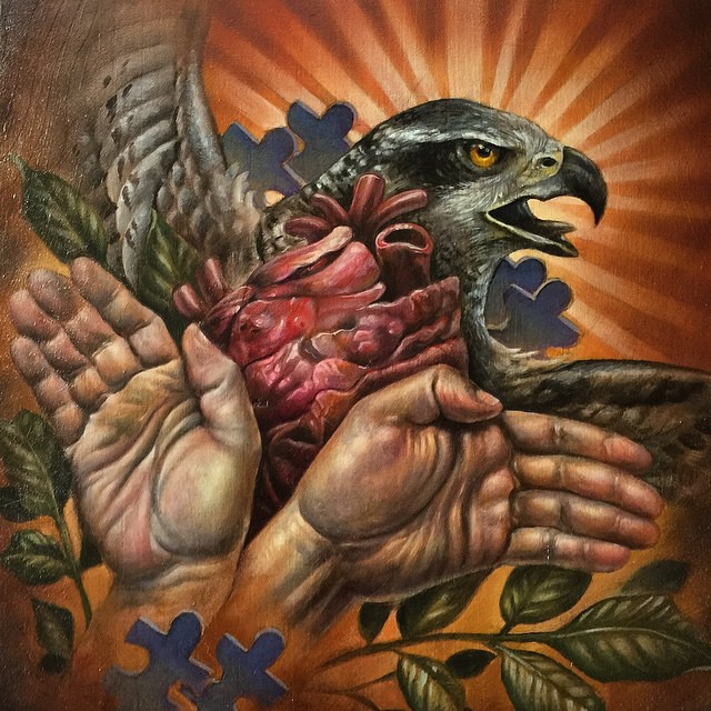 "Sneak peak of Terry Ribera's piece for ""A Helping Hand"" group art show and autism fundraiser, opening February 13th! Come by and support a good cause!! #ahelpinghand #sandiego #artshow #autism #fundraiser"