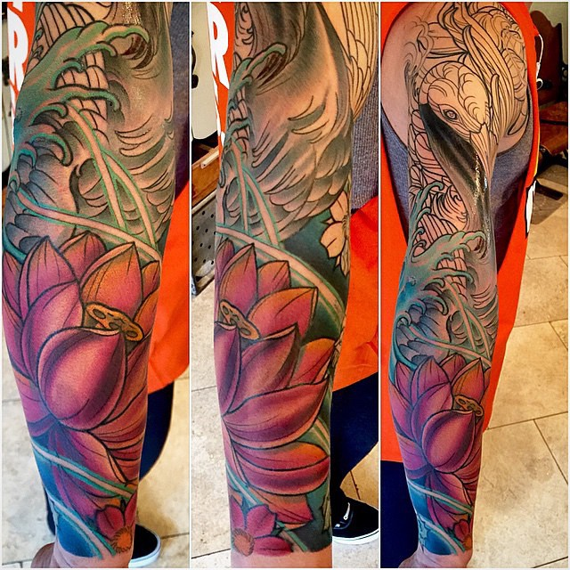 Crane Tattoo in Progress by Terry Ribera