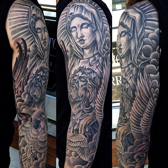 Mary and Jesus Tattoo Sleeve