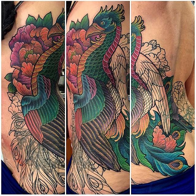 In progress Phoenix coverup by Terry Ribera #terryribera #phoenixtattoo #birdtattoo #coverup #wip