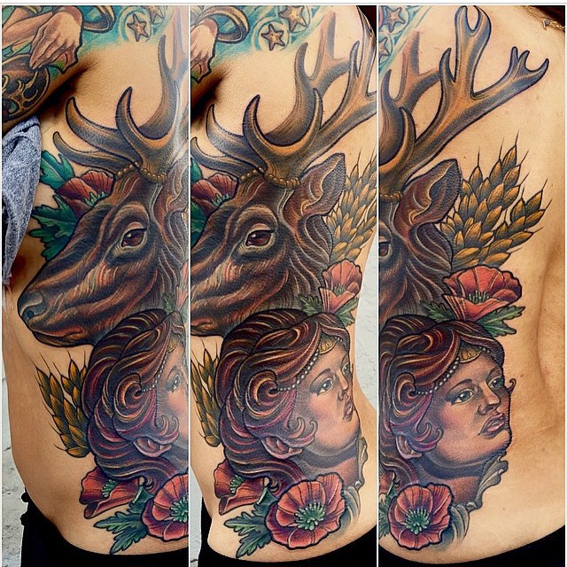 By Terry Ribera @terryribera @tattooistartmag #tattooistartmag #tattooistartmagazine #antlertattoo #elktattoo #stagtattoo