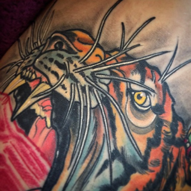 Detail shot of a piece by @gust_razotattoos #tigertattoo #sandiegotattoo #sandiegotattoos #sandiegotattooshop #remingtontattoo