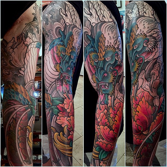 In progress shot of a #sleeve by @terryribera #remingtontattoo #wip #colorfultattoo #sandiegotattoo #northparktattoo #japanesetattoo #dragontattoo
