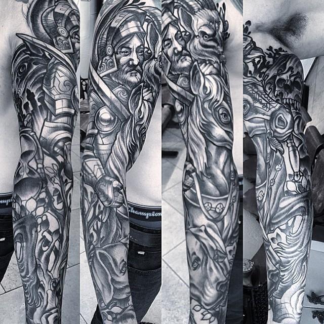 Progress shot of this #conquistador #sleeve by Terry Ribera @terryribera #horse #conquistadortattoo #sleeve #terryribera #goattattoo #wip #sandiegotattoo #remingtontattoo