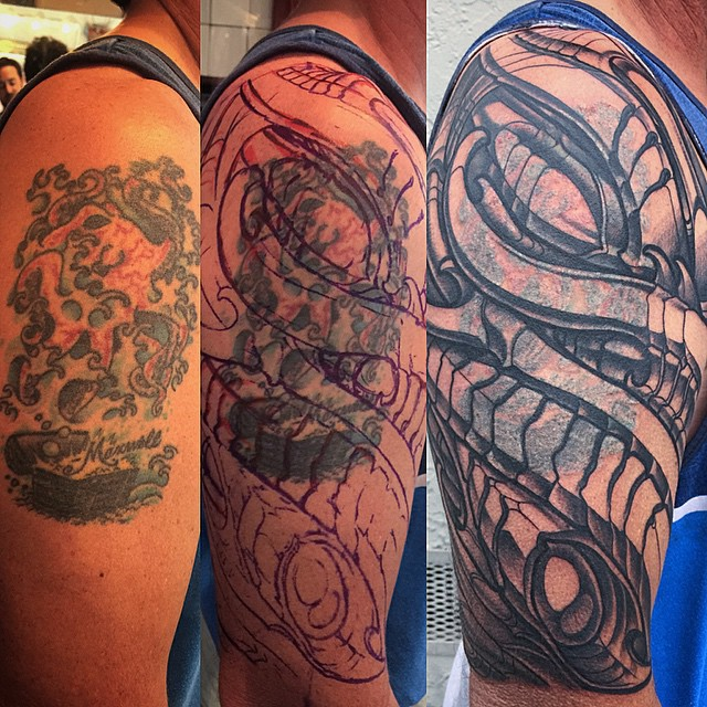 #biomechanical #coverup #inprogress #terryribera #remingtontattoo @terryribera @remingtontattoo