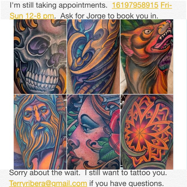 Thank you to all of my clients for the many years of support.  Most of you who that have been in contact with me over the last 4 years have booked thru my previous assistant.  That position was terminated nearly 4 months ago.  Since than I have hired our new assistant Jorge.  He has been with us at Remington Tattoo for the last couple of months.  Contrary to what some of you might have been told I am actively taking appointments.  I have not stopped.  With that said I know waiting a year for your tattoo can seem like a very long time.  However the tattoo you receive will last far longer than that.  I've been very lucky to have so many repeat clients over the nearly 15 years I've been tattooing  and I greatly appreciate all of your support.  I will always look forward to tattooing all of you.  This goes for future clients as well. The reality is that you all have supported my living and of course most recently the success of my shop.  I can not explain how greatly I value that. Some people might argue that a year is too long to wait. I personally think in the span of a tattoo and it's longevity it's rather short. Some of you might argue that it is expensive... This is a really up to you.  I will say that I've have acquired a particular knack for tattooing quickly and efficiently.  You always have the choice of going to a slower less efficient and often less skilled person if you prefer.  I am aware of cost and because of that I always round my time and cost in my clients favor.  I'm very mindful of the fact that I sell something that honestly nobody needs the fact is tattoos are a luxury. Many people I believe are marking themselves at a point in their life where it has a far deeper meaning and need than a simple picture on their skin.  I don't know what that is worth to everybody, but I'm fairly certain bargain hunting on your tattoo can often lead to a regrettable decision.  There is a reason I've acquired a long wait period, I'd like to believe it's because I'm doing something right.Thank you all for your continued support!16197958915 fri-sun 12-8pm ask for Jeorge or email me directly terryribera@gmail.com -Terry @terryribera