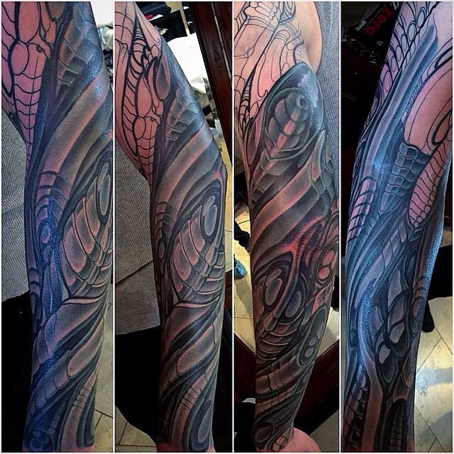 Biomechanical Tattoo Sleeve in Progress