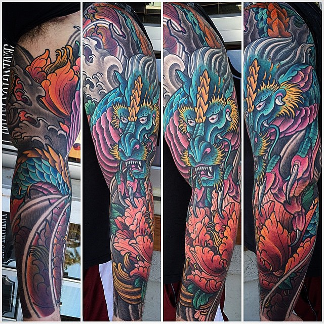 Dragon tattoo by Terry Ribera @terryribera #japanesedragon #japanesetattoo #tattooistartmag #tattooistartmagazine @tattooistartmag