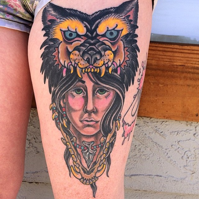 Woman with wolf headdress Tattoo by Shannon Nordin @theblacktroll Stop by Remington Tattoo to book your appointment with Shannon! #ladytattoo #woldtattoo #headdresstattoo #hogbelly #remingtontattoo #sandiegotattoo