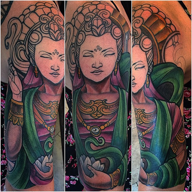 In progress piece by Terry Ribera @terryribera Book your tattoo idea with Terry today TerryRibera@gmail.com #remingtontattoo #quanyin #quanyintattoo #lotus @remingtontattoo #wip #terryribera