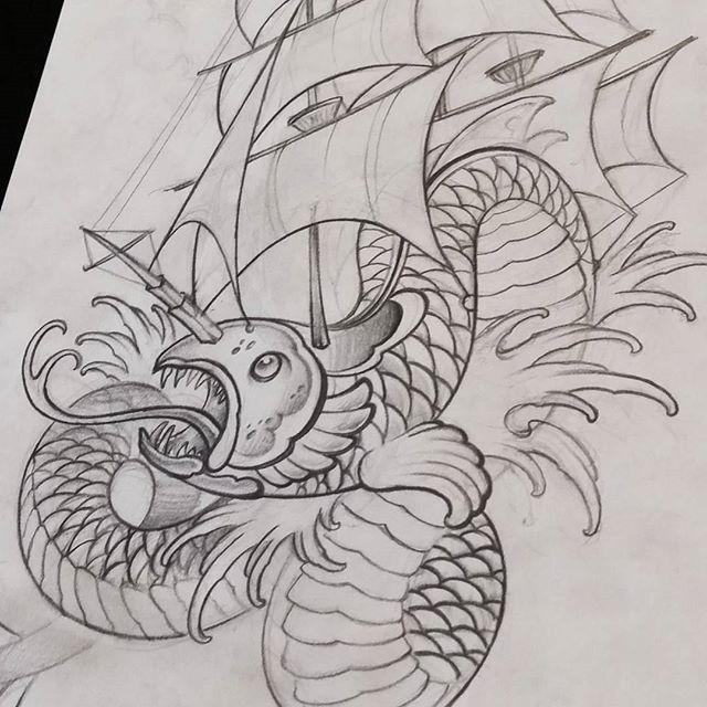 Drawing sketch by @bradburkhart #art #drawing!#sketch #seaserpent #sailboat #tattoo #design #remingtontattoo #bradburkhart #northpark #30thst #sandiegotattoo #sandiegoartist #sandiego