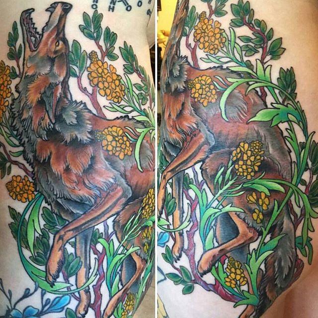 Tattoo by @nathanieltattoosd #art #tattoo #tattoos #remington #remingtontattoo #nathanielgann #nathanielganntattoo #coyote #northpark #30thst #sandiegotattoo #sandiegoartist #sandiego