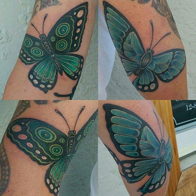 Tattoo by @bradburkhart #art #tattoo #tattoos #remington #remingtontattoo #bradburkhart #butterfly #butterflies #bradburkharttattoos #northpark #30thst #sandiegotattoo #sandiegoartist #sandiego