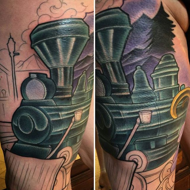In progress tattoo by @terryribera #art #tattoo #tattoos #remington #remingtontattoo #terryribera #train #terryriberatattoo #northpark #30thst #sandiegotattoo #sandiegotattooartist #sandiegotattooshop #sandiego