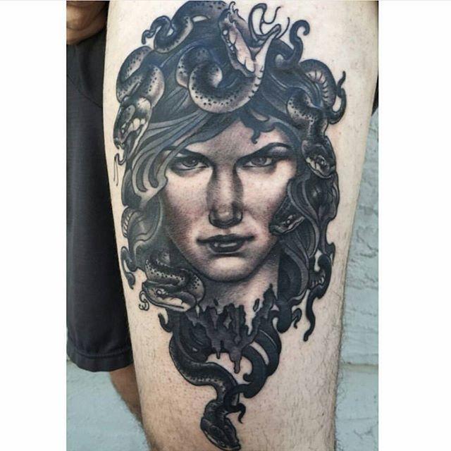 Completed Medusa by @nathanieltattoosd #art #tattoo #tattoos #remington #remingtontattoo #nathanielgann #nathanielganntattoo #sandiegotattoo #northpark #30thst #sandiegoartist #sandiego