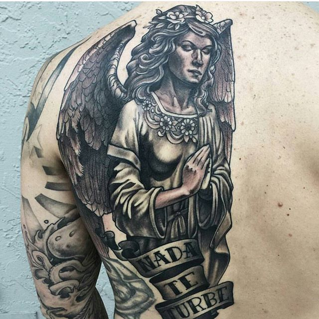 Tattoo by @nathanieltattoosd #art #tattoo #tattoos #remington #remingtontattoo #nathanielganntattoo #nathanielgann #angel #statue #northpark #30thst #sandiegotattoo #sandiegoartist #sandiegotattooartist #sandiegotattooshop #sandiego