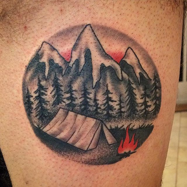 Small Camping Tattoo by Shannon Nordin