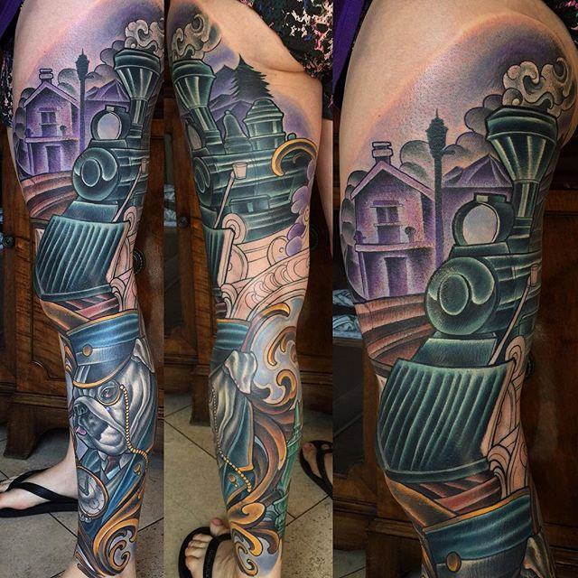In Progress: Train Bulldog Conductor Full Color Leg Sleeve