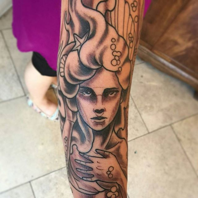 In Progress: Mermaid Tattoo by Gustavo Razo