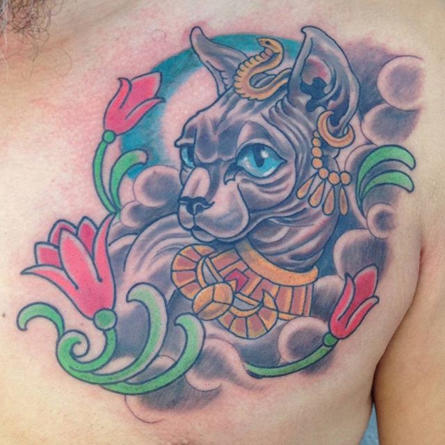 Tattoo by @chriscockadoodledo #art #tattoo #tattoos #tattooart #remington #remingtontattoo #chriscockrell #chriscockrelltattoos #sphinx #sphynxcat #northpark #30thst #sandiegotattoo #sandiegotattooshop #sandiegotattooartist #sandiegoartist #sandiego