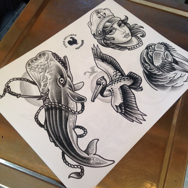 Some designs from @chriscockadoodledo #tattoo #tattoos #tattooflash #remington #remingtontattoo #sandiegotattoo #sandiegotattooshop #northpark #30thst #sandiegotattooartist #sandigoartist #chriscockrilltattoo #teamzisu #whaletattoo