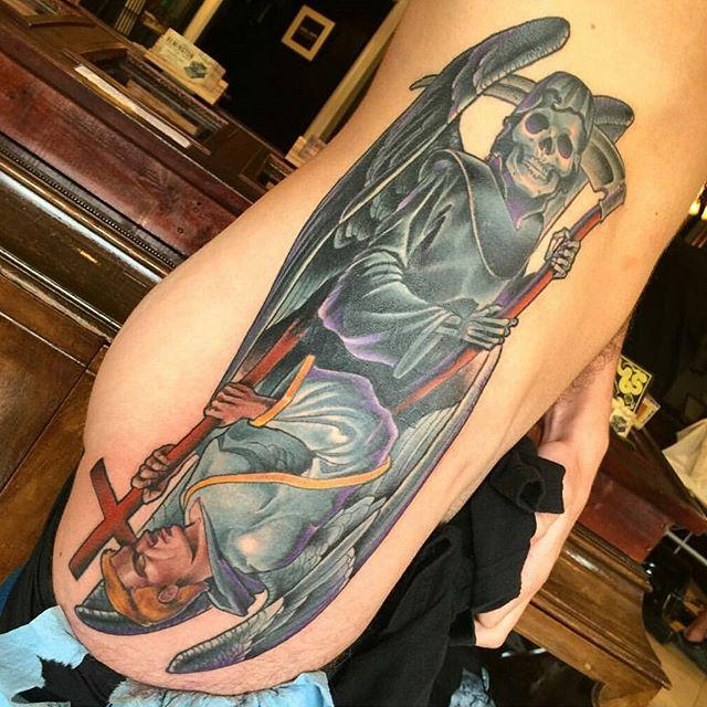 Tattoo by @nathanieltattoosd #art #tattoo #tattoos #tattooart #remington #remingtontattoo #nathanielgann #nathanielganntattoo #northpark #30thst #sandiegotattoo #sandiegotattooartist #sandiegotattooshop #sandiego