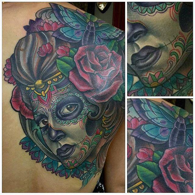 Tattoo by @terryribera #art #tattoo #tattoos #tattooart #remington #remingtontattoo #terryribera #terryriberatattoo #diadelosmuertos #northpark #30thst #sandiegotattoo #sandiegotattooshop #sandiegotattooartist #sandiegoartist #sandiego