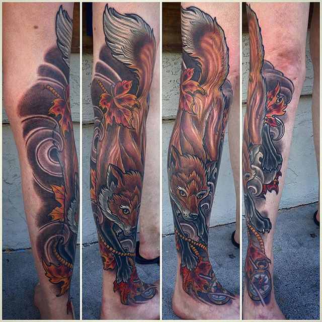 #fox #fallleaves #compass #terryribera @terryribera @remingtontattoo #sandiego #northpark