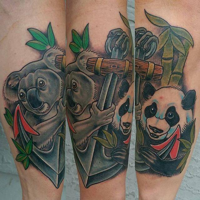 Tattoo by @bradburkhart #art #tattoo #tattoos #tattooart #remington #remingtontattoo #bradburkhart #bradburkharttattoos #koala #panda #anker #northpark #30thst #sandiegotattoo #sandiegotattooshop #sandiegotattooartist #sandiegoartist #sandiego