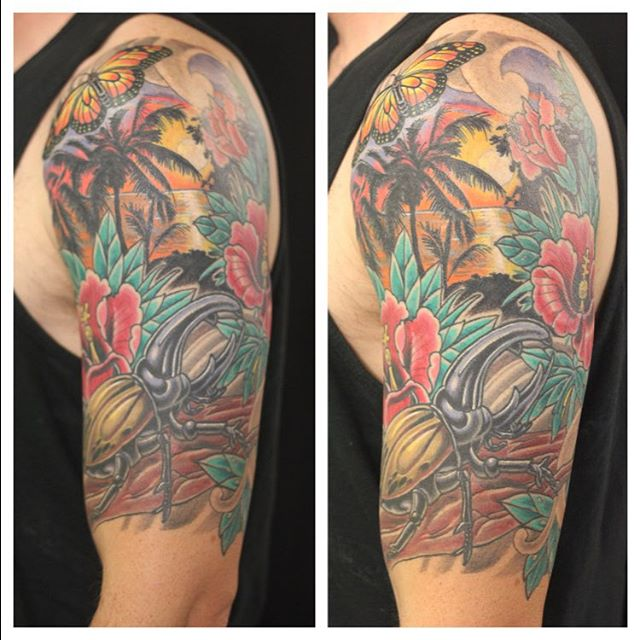 Tattoo form @chriscockadoodledo #sandiegotattoo #sandiegotattooartist #herculesbeetle #sunsettattoo