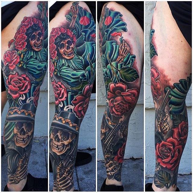 Day of the dead tattoo by Nathaniel Gann @nathanieltattoosd #tatooistartmag #tattooistartmagazine @tattooistartmag #dayofthedead #dayofthedeadtattoo #diasdelosmuertos #remingtontattoo #sandiegotattoo #candyskull #candyskulltattoo