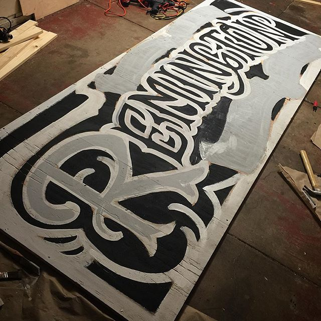 First pass of paint for the new shop sign. Roughly 4x10 feet. @terryribera @remingtontattoo #sandiego