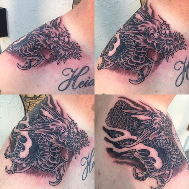 Fresh one from, @chriscockadoodledo #dragontattoo #japanesetattoos #sandiegojapanesetattoo