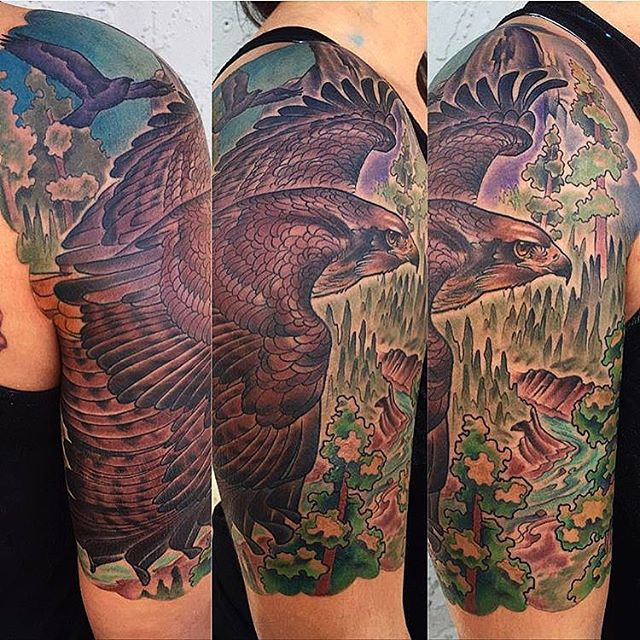By Nathaniel Gann @nathanieltattoosd at Remington Tattoo #hawktattoo #falcontattoo #birdtattoo #tattooworkers #remingtontattoo #sandiegotattoo #nathanielgann